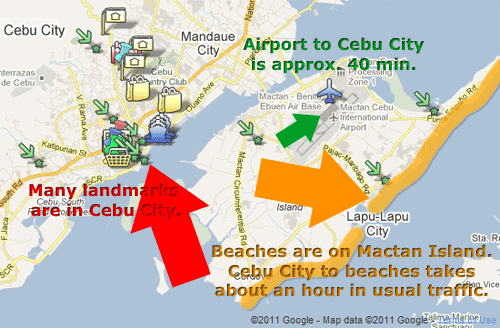 Cebu City (on Cebu Island). Most beaches are located in Lapu-Lapu City